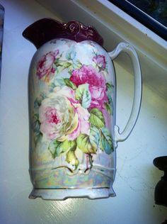 Beautiful antique roses chocolate pot