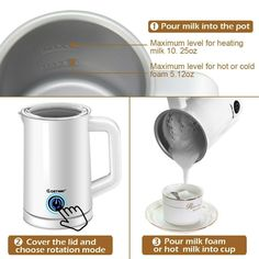 Details About Electric Automatic Milk Magnetic Stirring Foam Maker