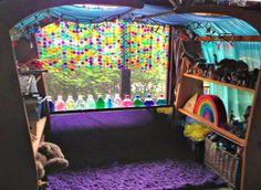 Spring Preschool Classroom Ideas: Translucent Bingo Chip Rainbow Garland Window