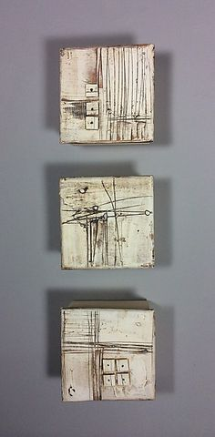 Marks and Texture by Lori Katz. Slab built stoneware with stoneware inlay, slip, underglaze, wire. Hangs simply on a picture hook from wire across wood backing. Picture hooks and easy to use hanging template included with purchase. Sculptures Céramiques, Sculpture Art, Ceramic Sculptures, Ceramic Wall Art, Ceramic Bowls, Art Diy, Encaustic Painting, Art Mural, Hanging Pictures