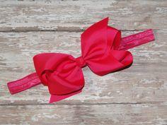 Large Hot Pink Bow Headband Baby Headband by BabyliciousDivas