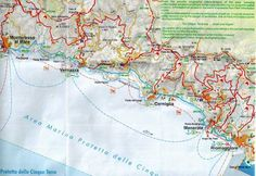 This map shows the route of the four Cinque Terre walking paths.  They are marked in blue.