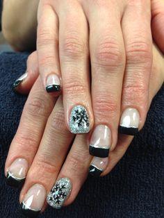Tanya's nails. Sparkling gel nail art.