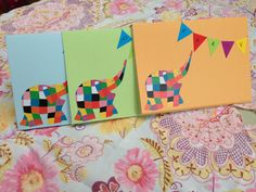 Handmade Elmer elephant birthday invites using  printed cut outs of Elmer, coloured card and coloured paper bunting! Simple idea and very cost effective.