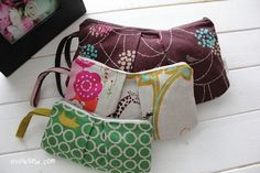 Pleated zipper pouch pattern, three sizes $5.50