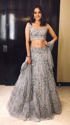 Excited to share this item from my shop: VeroniQ Trends-Bollywood Manushi Miss India inspired Heavy Lehenga Blouse in Grey Net With Embroidery,Pearl Work,Silver piping lace-VQ Indian Party Wear, Indian Wedding Outfits, Bridal Outfits, Indian Outfits, Indian Wear, Designer Bridal Lehenga, Bridal Lehenga Choli, Indian Lehenga, Blue Lehenga