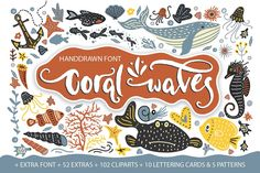 Coral Font and Clip Art on Creative Market. Digital design goods for personal or commercial projects. Graphic design elements and resources.