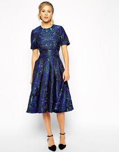 Image 1 ofASOS Embellished Crop Top Midi Dress