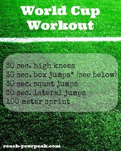 Whether you're a soccer player or not, try this workout for strength, plyo and cardio!