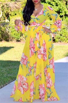 Deep V-neck Floral Printed Maxi Chiffon Dress Shop- Women's Best Online Shopping - Offering Huge Discounts on Dresses, Lingerie , Jumpsuits , Swimwear, Tops and More. Backless Maxi Dresses, Chiffon Maxi Dress, White Maxi Dresses, Dresses Dresses, Party Dresses, Casual Dresses, Formal Outfits, Cheap Dresses, Elegant Dresses