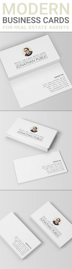 "Modern simplistic business cards design featuring your personal photograph, your name and contact details as well as in introduction line saying ""Hello, I am a"" added by your profession.  This modern business card would work great for real estate agents who would like their photo included for public recognition. The design would also work for other professions such as freelance writers, software developers or bloggers. Modern business cards by J32 Design. #EstateAgentsLeaflets #EstateAgents…"