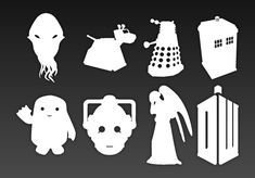 Doctor Who Stencils. These would be good for dodging powdered sugar on top of…