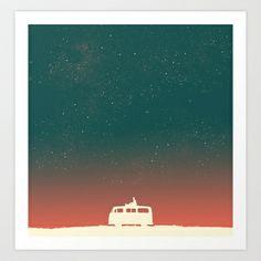 Quiet Night - starry sky Art Print by Budi Satria Kwan - $19.97