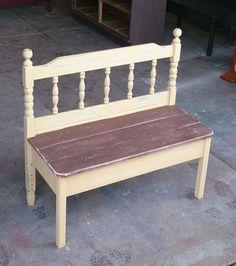 Wooden DIY Twin Headboard Bench Designs For Outdoor - Refurbished Furniture, Repurposed Furniture, Pallet Furniture, Furniture Projects, Furniture Makeover, Home Furniture, Timber Furniture, Business Furniture, Unique Furniture