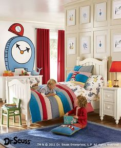 I would never commit to a Dr. Seuss themed room, but a set of these sheets would be pretty cute for Little j's big boy bed!