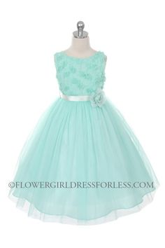 Flower Girl Dress Style 278 - AQUA Sleeveless Tulle Dress with Mesh Rolled Flowers $49.99