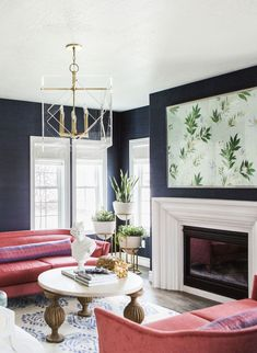 Trendy navy blue living room furniture that look beautiful