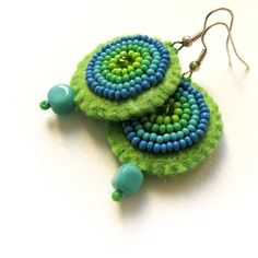 Sea felt earrings with turquoise and green beads