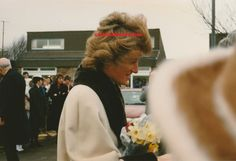 February 28, 1989~Princess Diana chats to the crowd at Dr Barnardo's Home for the Blind Harrogate~Yorkshire