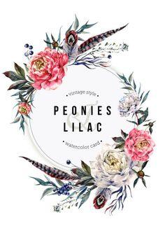 Acuarela tarjeta de Boho con peonías y plumas - ilustración de arte vectorial