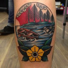 Row boat by Nick Mayes at North Sea Tattoo #InkedMagazine #tattoo #rowboat #Inked #tattoos #art