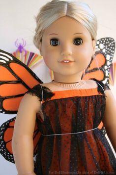 Anna here!  With Halloween tomorrow I wanted to make one more Halloween costume, butterfly wings for your doll!  My youngest daughter will be a butterfly for her second year in a row.  She's …
