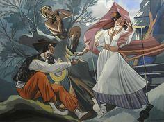 Zofia Stryjeńska (Polish), Scena huculska z faunem, gouache on paper, 1935 Dance Paintings, Shape Design, Traditional Art, Painting & Drawing, Poland, Medieval, Folk, Princess Zelda, Fine Art
