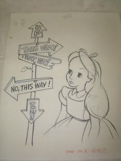 12 Alice in Wonderland Original Drawings : Lot 2026 12 Alice in Wonderland Original Drawings : Lot 2026 - Disney Crafts Ideas Pencil Art Drawings, Art Drawings Sketches, Cartoon Drawings, Cute Drawings, Art Illustrations, Disney Kunst, Arte Disney, Disney Art, Disney Ideas