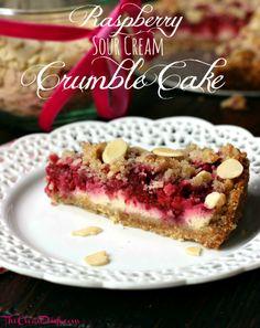 Raspberry Sour Cream Crumble Cake (grain free, processed sugar free)