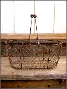 Oblong Gathering Primitive Chicken Wire Style Naturally Rusted Basket with swing handles