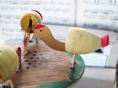 Handmade Vintage Toy Pecking Chickens1950's Wood by GardenBarn, $29.99