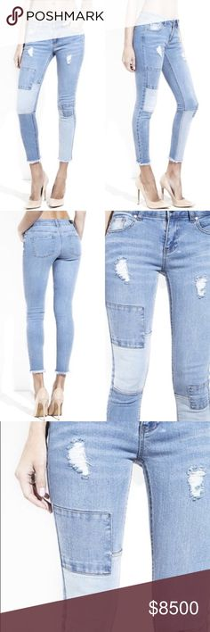 COMING SOON  Distressed Patchwork Skinny Jeans 5 pocket skinny jeans with zipper and button closure. On trend distressed denim with light and medium denim patchwork. Frayed cropped hem. @caradock Jeans Ankle & Cropped