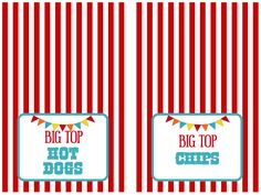 Circus Party Food Tent Cards Free Printables