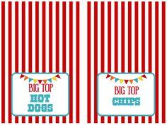 We Heart Parties: Free Printables Big Top Circus Party Free Printables Circus Party Foods, Circus Carnival Party, Circus Theme Party, Carnival Birthday Parties, Carnival Themes, Circus Birthday, Boy First Birthday, Birthday Party Themes, 4th Birthday