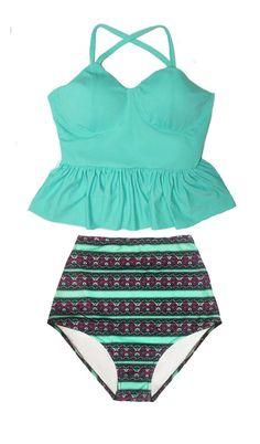 Mint Peplum Tankini Top and Grahic High waist waisted Highwaist Highwaisted Shorts Bottom Swimsuit Bikini set Swimwear Bathing suit S M L XL by venderstore on Etsy