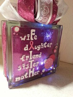Breast cancer Awareness hand-painted lighted glass block.