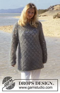 """DROPS Extra 0-55 - DROPS jumper in """"Vienna"""" with lace pattern. Size S-L."""