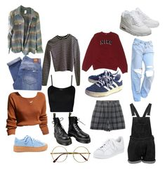 Build an outfit by sunsetsandflowers on Polyvore featuring polyvore fashion style Patagonia NIKE T By Alexander Wang Nobody Denim adidas Dr. Martens Retrò WearAll clothing