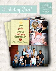 Digital Christmas Card Design   Typography Christmas Card   Gold Greeting Card   Photo Christmas Card   Instant Download Holiday Card