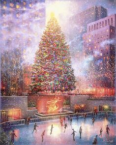 Ice Skating Animated candles tree glitter sparkle decorate silver . (GIF)