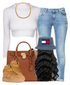 """""""Been running dis game"""" by newtrillvibes ❤ liked on Polyvore featuring Zara, Michael Kors, NIKE, women's clothing, women's fashion, women, female, woman, misses and juniors"""