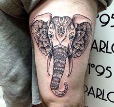 Tattoo cuisse – 48 tatouages de caractère (tatouage éléphant cuisse jambe thigh)