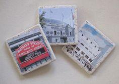 Chicago Original Sports Stadiums Coasters Wrigley by MimmStudio