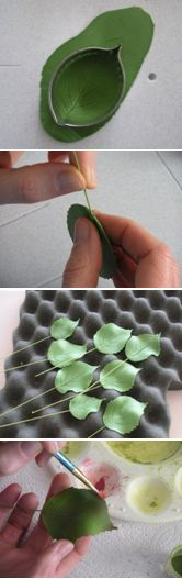 How to make gumpaste hydrangea leaves. Really great tutorial. Love how the leaves are dried. (How To Make Clay Bake)