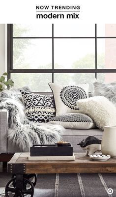 Easiest way to give your space a fresh look for fall? Throw pillows—and lots of them! The clean look of black and white gets an upgrade with a modern mix of textures and materials, like embroidery details and faux fur. Stick to the color scheme with addit Black And White Pillows, Black White Decor, White Rug, White Interior Design, Contemporary Interior, Deco Boheme, Home And Deco, My New Room, Home And Living