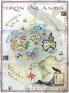 """Map illustration by Michael Gellatly of the fictional land of Iron Islands from George R. Martin's Game of Thrones """"Iron Islands"""". Map illustration by Michael Gellatly Game Of Thrones Westeros, Arte Game Of Thrones, Game Of Thrones Books, Westeros Map, Got Map, Game Of Thones, Island Map, Fantasy Map, High Fantasy"""