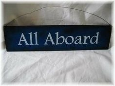 Amazon.com - Navy Blue and White All Aboard Wooden Train Wall Art Sign Boys Bedroom Decor