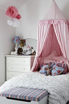 The  bedroom features a cosy Cath Kidston tent canopy. Country Style, photography Sharyn Cairns.