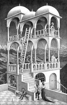 At the MC Escher Art Gallery in San Francico Mc Escher Art, Escher Kunst, Escher Drawings, Escher Paintings, Art Museum, Illusion Kunst, Illusion Art, Op Art, Comic Art
