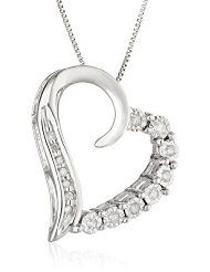 "10k White Gold Round-Shaped Diamond Heart-Pendant Necklace (1/10 cttw, I-J Color, I2-I3 Clarity), 18"""